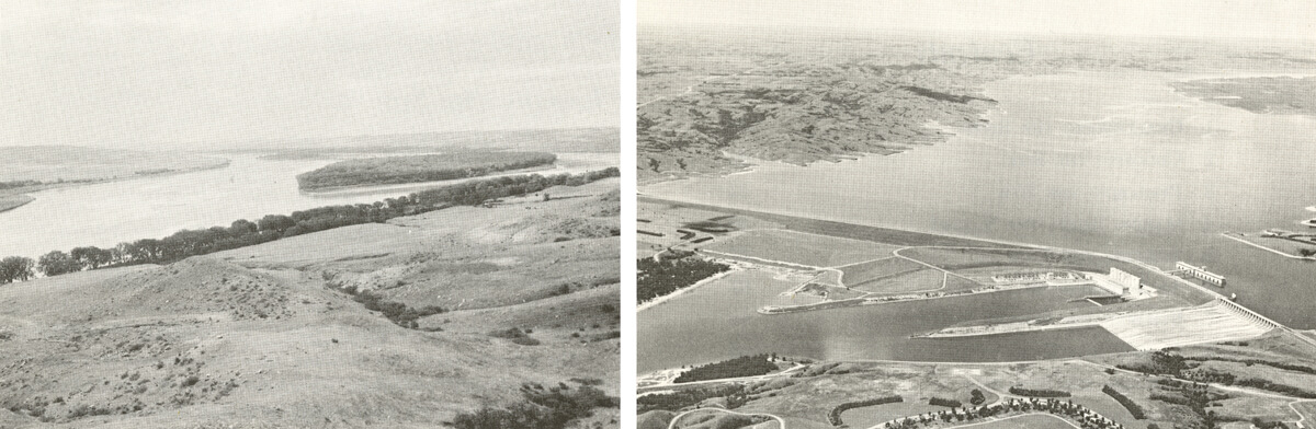 Before and after Oahe Dam